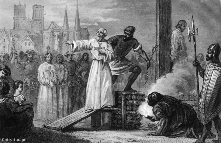 Jacques de Molay, a templomos rend vezetőjének kivégzése.