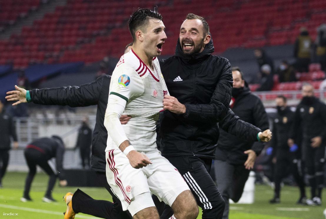 Szoboszlai Dominik és Fiola Attila a Magyarország - Izland labdarúgó Európa-bajnoki pótselejtező mérkőzésen a Puskás Arénában 2020. november 12-én.