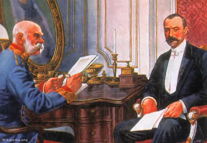 Ferenc József és Tisza István egy 1905-ben készült képeslapon