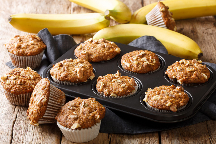 Ellenállhatatlan banános muffin roppanós diódarabokkal: süss belőle dupla adagot