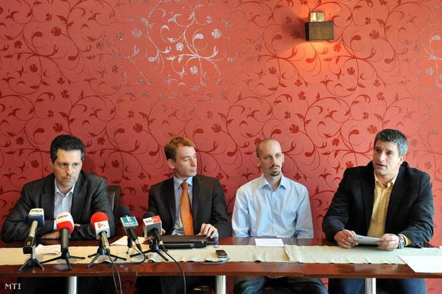 Schiffer András LMP-s parlamenti képviselő Jávor Benedek az LMP frakcióvezetője a 4K! vezetőségével.