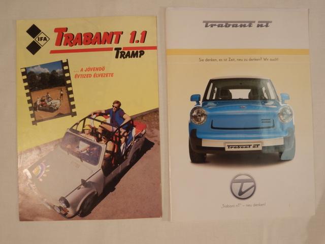 Trabant Tramp prospektus 1991-ből, és Trabant NT 2009-ből. Nem tudnám megmondani, melyikből lehet kevesebb idehaza