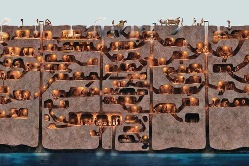 Egy rajz a föld alatti városról: így kell elképzelni Derinkuyu keresztmetszetét.