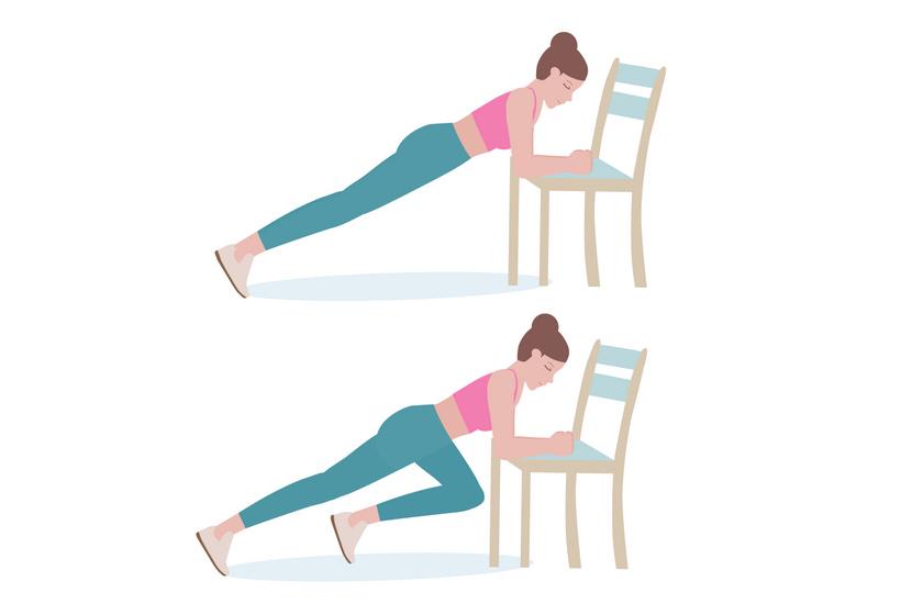 A széket helyezd a falhoz, nehogy kicsússzon alólad a gyakorlatok elvégzése közben. Támaszkodj meg az ülőfelületén, nyújtsd ki a lábaidat spiccben. Húzd fel az egyik lábad a mellkasodig, engedd le, majd végezd el ugyanezt a másik lábaddal. Két percig, közepes intenzitással csináld a gyakorlatot.