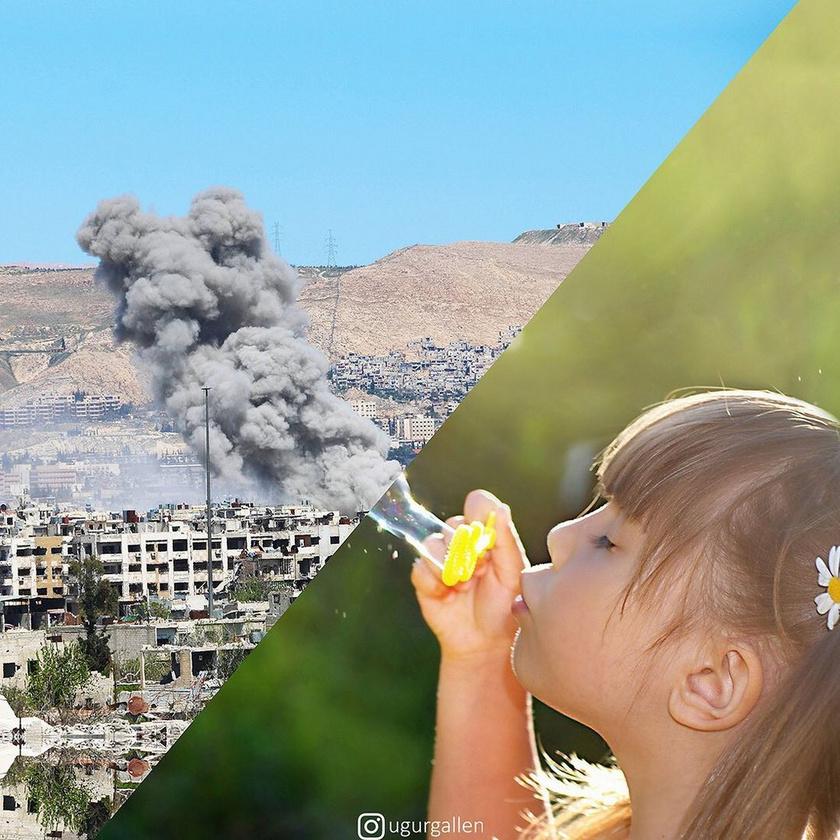 A bal oldali fotó 2015-ben Damaszkusz keleti részén, a szíriai bombázások idején készült, mellette élesen elhatárolt képként egy kislány látható, aki buborékot fúj.