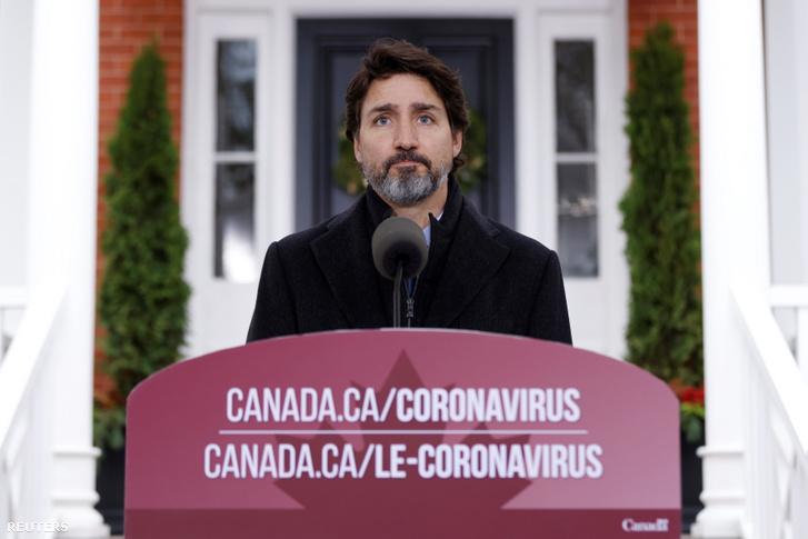 Justin Trudeau a bejelentés közben.
