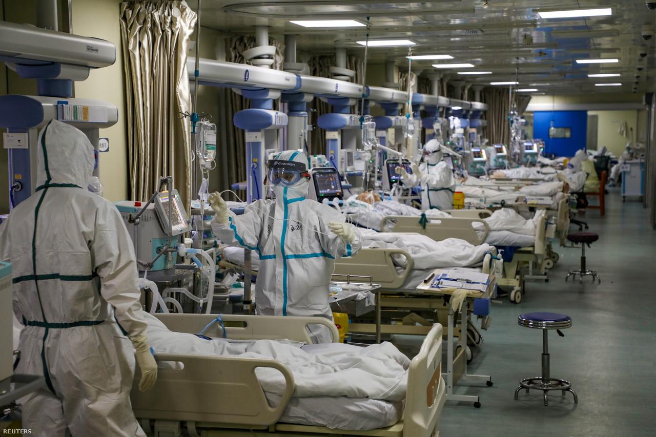 Koronavírusos betegeket ápoló osztály kína Vuhan tartományában 2020. február 6-án.
