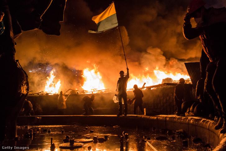 Tüntetés Kijevben 2014. február 19-én