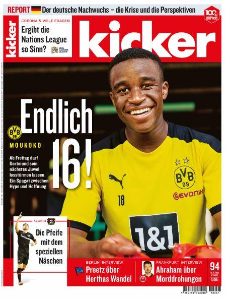 Youssoufa Moukoko a Kicker címlapján