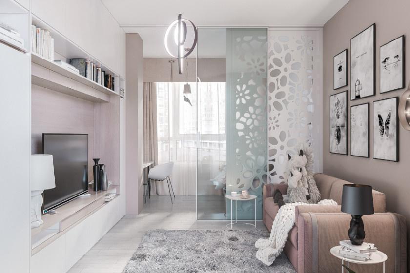 Stílusos megoldás lehet egy szép mintázatú és egy üveg térelválasztó panel kombinációja. A sínen mozdítható lapokkal akár le is zárható a szoba egy része.