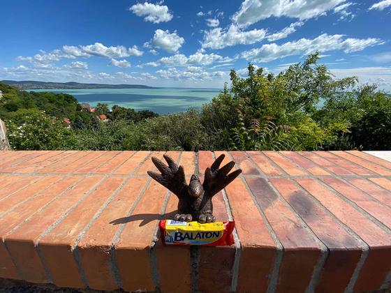 A Balatonnál hol található a pocakos, csokievő madár, Gombóc Artúr szobra?