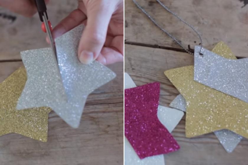 Egyszerű megoldás, ha egy ezüst- és egy aranyszínű papírból csillagalakokat vágsz ki. Válaszd ki az egyiket, és vágd fel a két csúcsait összekötő egyenes felénél a képen látható módon, majd csúsztasd bele a másik csillagot! Végül ragasztózd be az egymáshoz illeszkedő részeket, fúrj egy kis lyukat a tetejére, vezesd át az akasztót rajta, és készen is van a pompásan ragyogó csillagdísz!