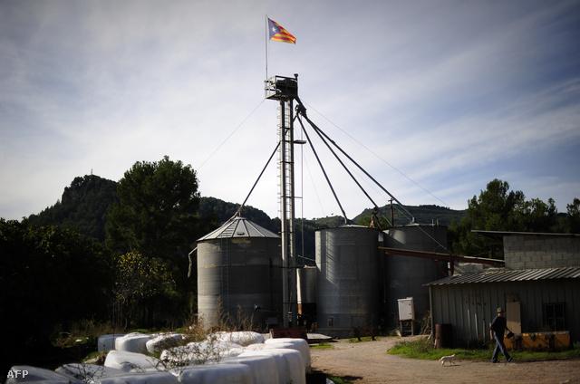 Katalónia függetlenségét jelképező zászló egy farmon