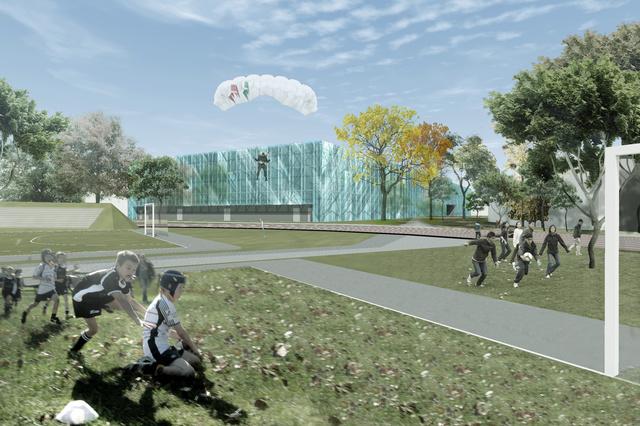 Skardelli György (Közti Zrt.) győztes pályaműve az egyetemi sportközpont tervezésére kiírt pályázaton