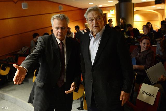 Wolfgang Reinicke a School of Public Policy dékánja és Soros György