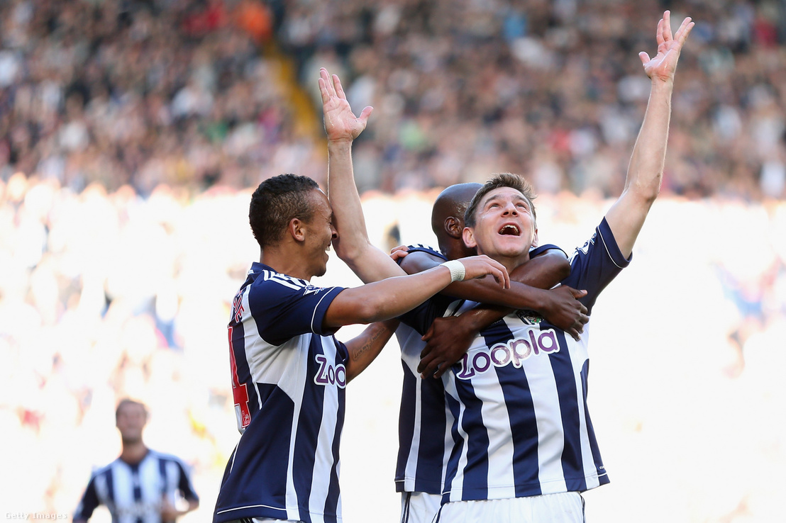 Gera Zoltán ünnepli gólját West Bromwich Albion - Queens Park Rangers mérkőzésen 2012. október 6-án
