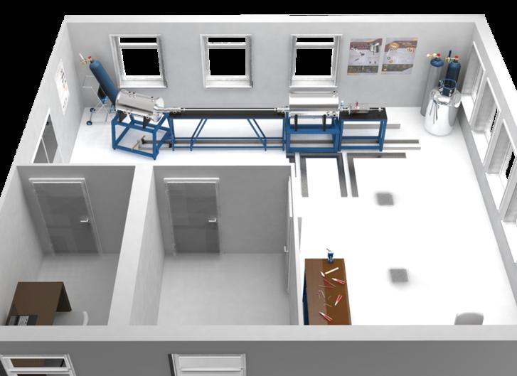 Számítógép-generált kép a törtjég-belövő rendszer laboratóriumáról az Energiatudományi Kutatóközpontban