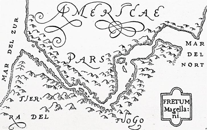 A Magellán-szoros 1590 körül