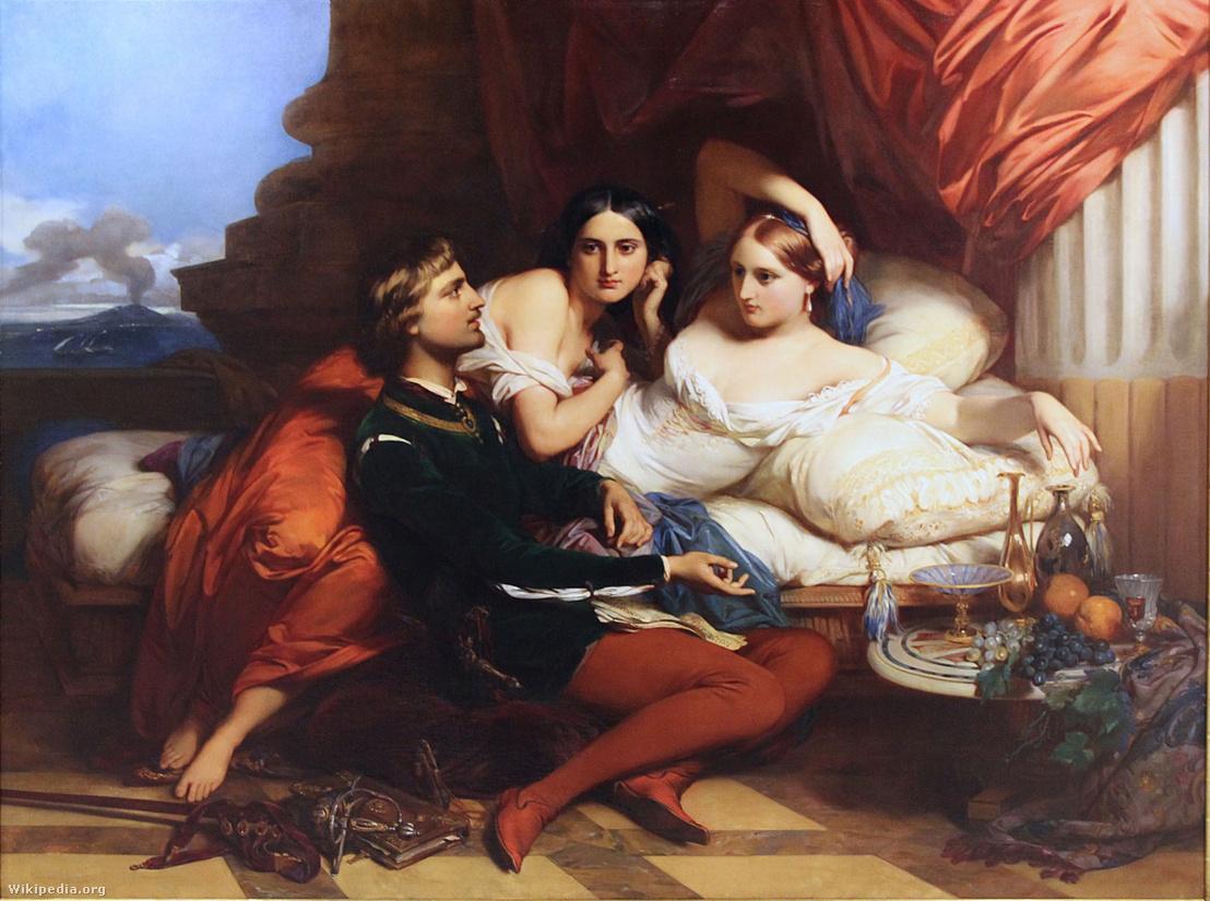 Boccaccio, Johanna udvarában – Gustaf Wappers festménye
