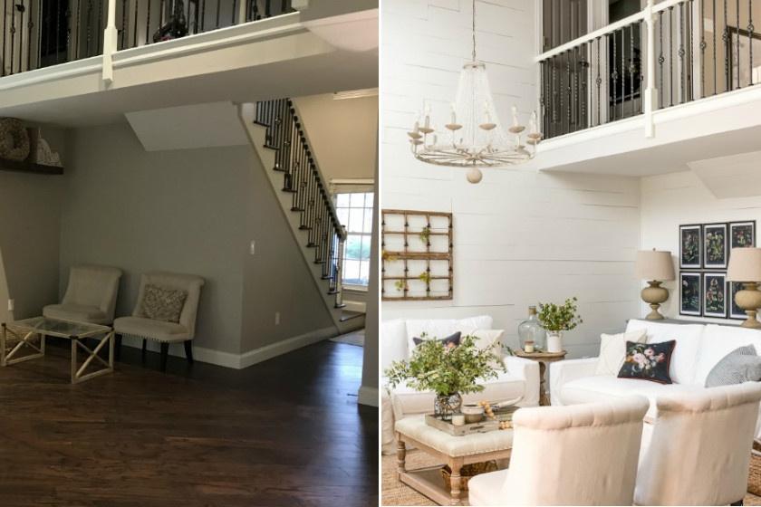 A galériás otthon nappalijában alig-alig voltak bútorok, ám átgondolva igazán kellemes lett. A szürkésbarna fal üde burkolatot kapott, és a fehér ülőgarnitúra is világosabbá tette a helyiséget.
