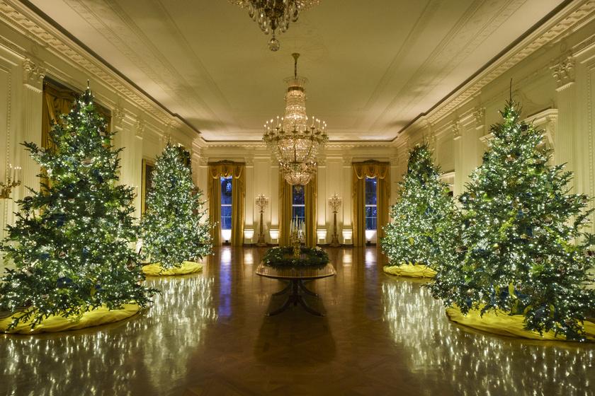 A Fehér Ház Keleti szobájában óriási karácsonyfákat helyeztek el.