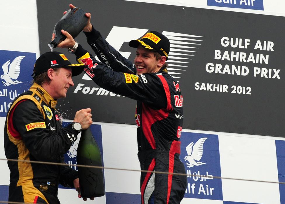 A bahreini versenyt a két Lotus-pilóta, Kimi Raikkönen és Romain Grosjean előtt nyerte meg a címvédő Vettel. A szezon egyik botránypilótája, a több nagy balesetet okozó francia Grosjean életében először állhatott a dobogóra.