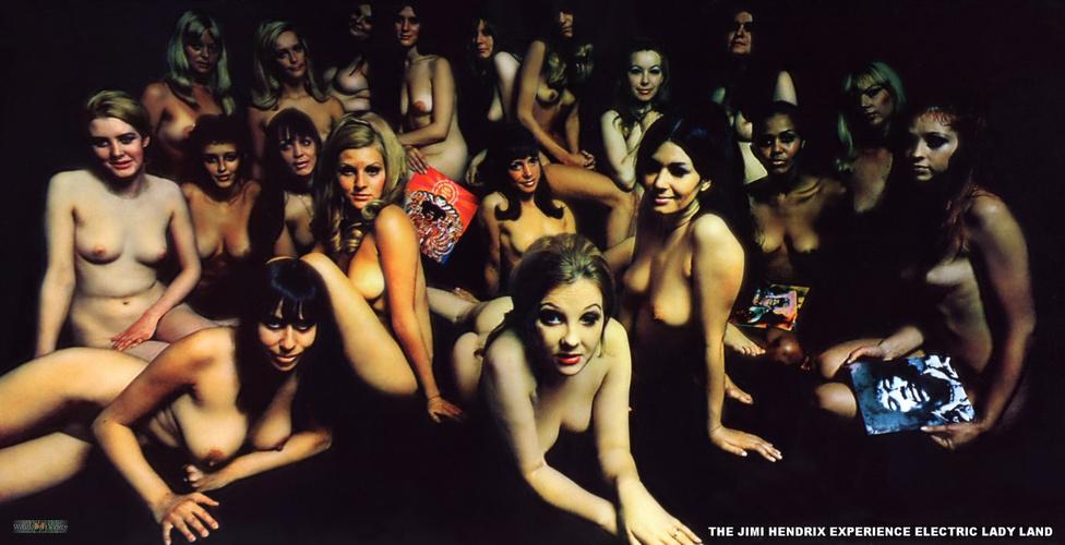 Az Electric Ladyland angol újrakiadásának borítója. Az eredeti tervek szerint amúgy a lemezborítón az Experience tagjai gyerekekkel körülvéve ültek volna a New York-i Central Parkban, de végül egy elmosódott vöröses sárgás Hendrix-fotót használtak helyette.