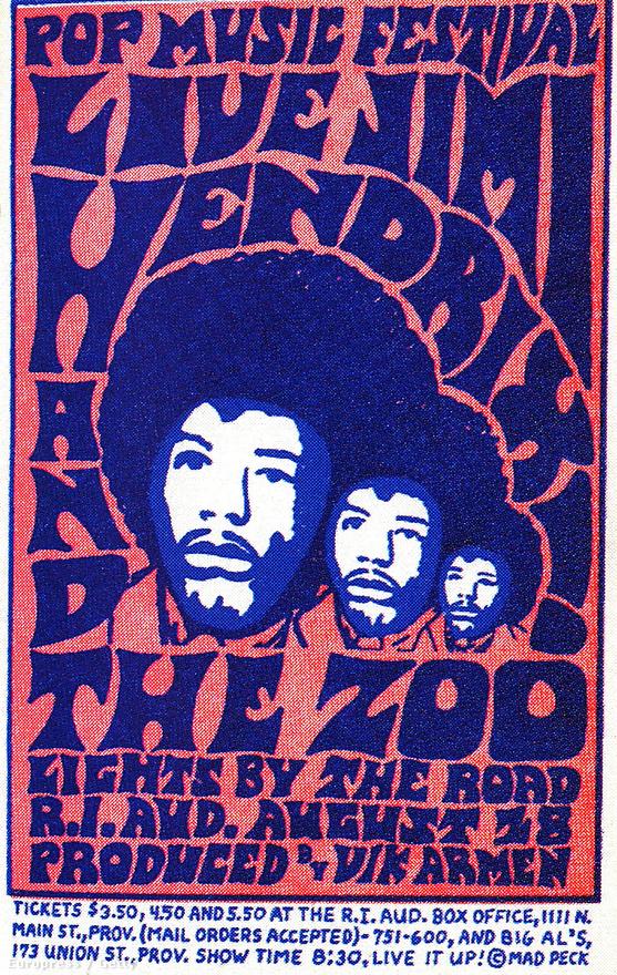 Koncertplakát 1968-ból, amin a Jimi Hendrix and the Zoo név előrevetíthette a Jimi Hendrix Experience végét is.