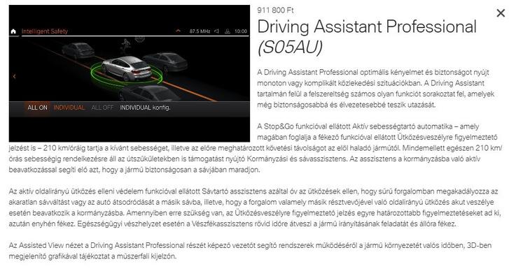 A BMW magyarországi honlapjának leírása a sávtartó-rendszerről, 2020. december 1-én