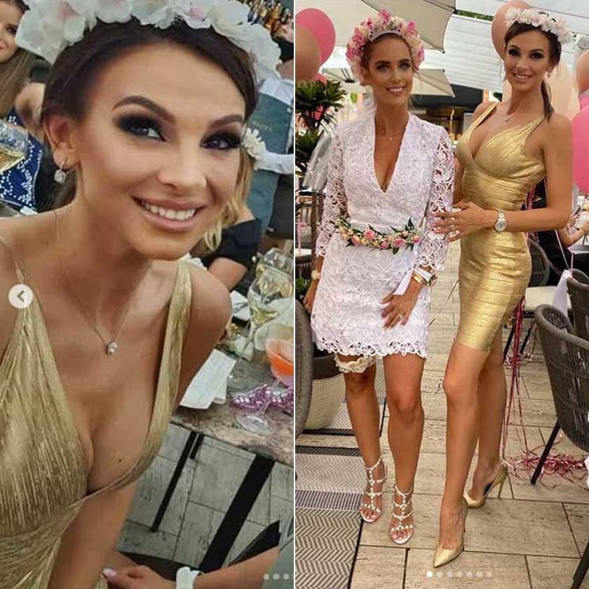 Sarka Kata július közepén ragyogott ebben a dekoltázshangsúlyos, aranyszínű miniruhában.