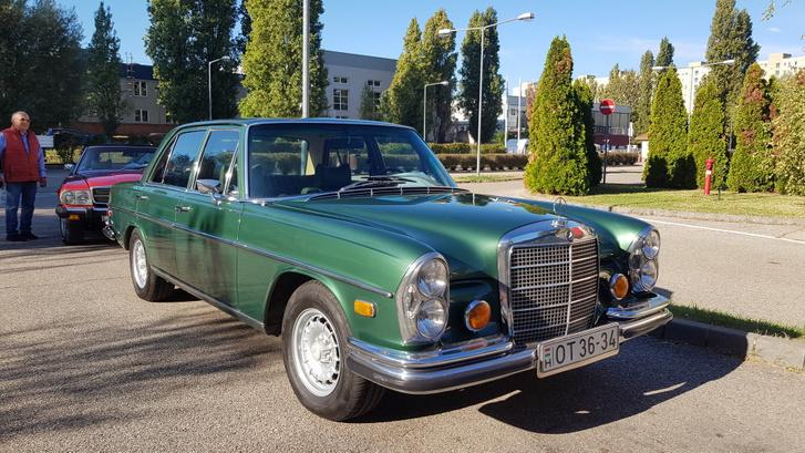 Szintén vizsgára várt ez a 108-as Mercedes. Valami egészen hihetetlen a színe, s a belseje is sötétzöld. Vágynám