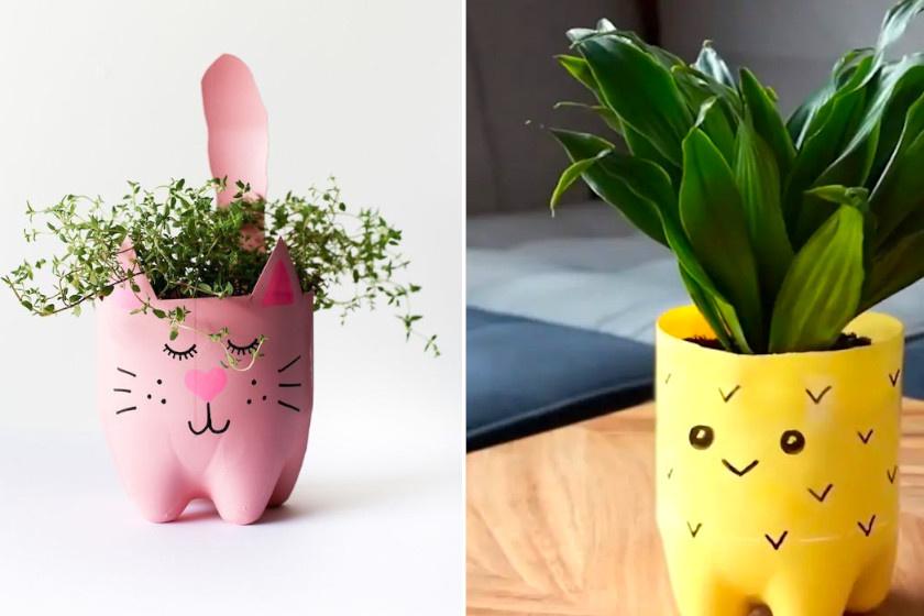 Készíts aranyos cserepeket! Felezz el egy PET-palackot, majd fesd figurásra vízálló festékkel és filccel. A cicafarkat és füleket rajzold előre a palackra, hogy könnyebb legyen kivágni.