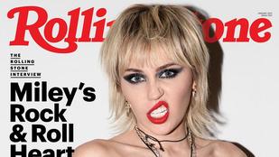 Miley Cyrus félmeztelenül pózolt a Rolling Stone címlapján