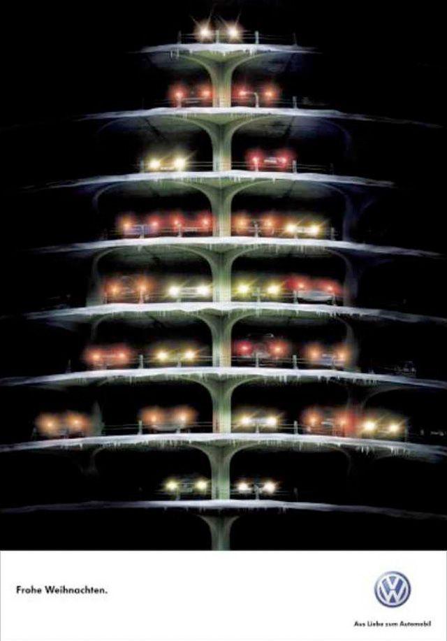 Ez is a Volkswagen kreatívjait dicséri: első és hátsó lámpák mint karácsonyfaizzók