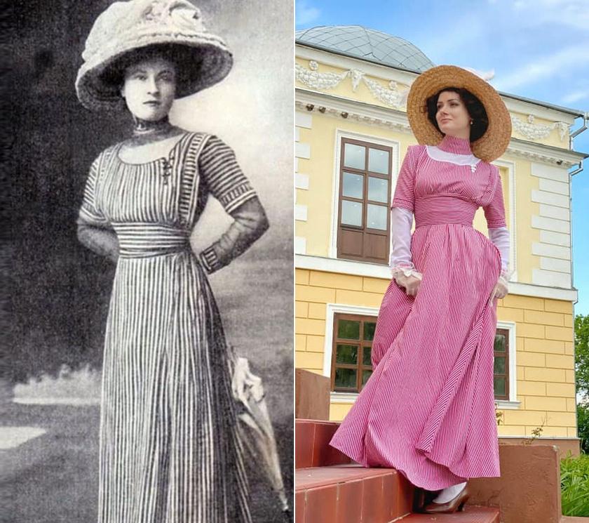 A ruhákat legtöbbször korabeli fotók alapján készíti.