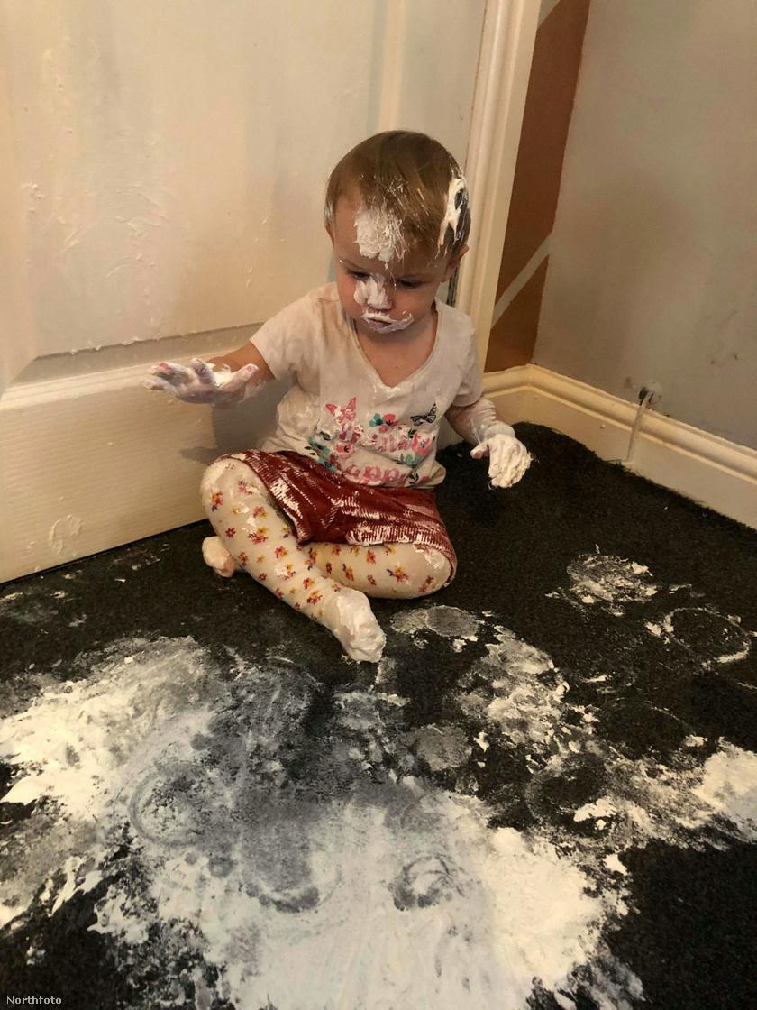 Miután az édesanya elmosogatott, 18 hónapos kislánya ezzel a látvánnyal várta. A popsikenőcs a szőnyegen és szanaszét a nappaliban végezte.