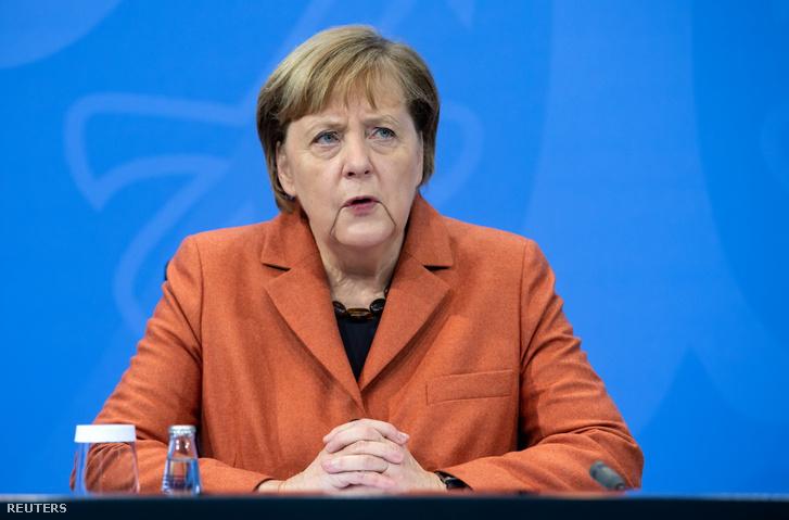 Angela Merkel a berlini sajtótájékoztatón 2020. december 13-án