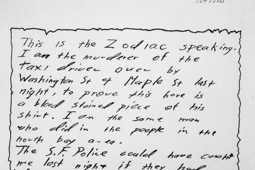 A zodiákus gyilkos egyik levele.