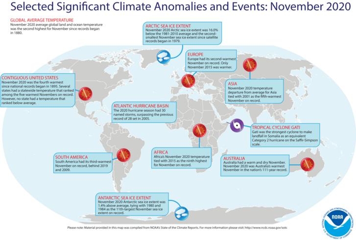 Világtérkép a 2020. novemberi rendkívüli időjárásról