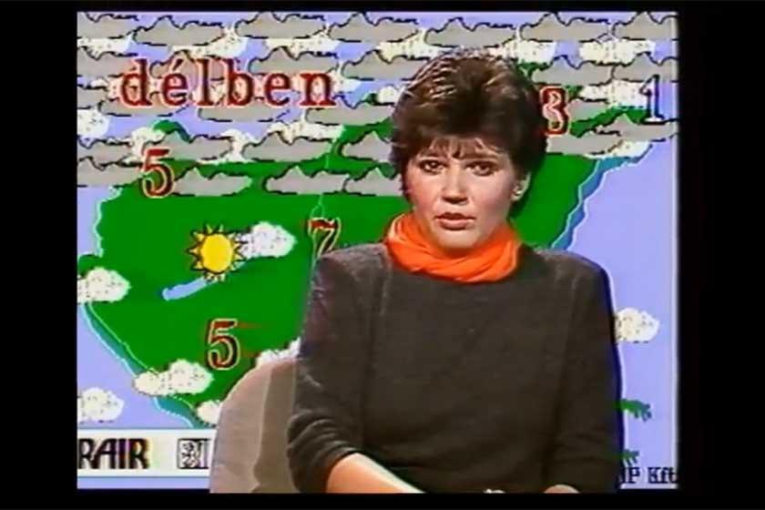 Pártai Lucia egy 1992-es meteorológiai előrejelzésben.
