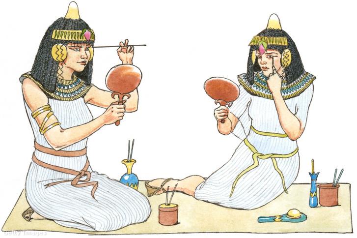 A képen egy későbbi korból származó, sminkelő egyiptomi nők láthatóak. Göndörített hajuk, és fejdíszeik eltérnek az Amarnában találtaktól.