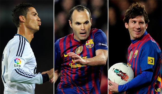 Cristiano Ronaldo, Andres Iniesta és Lionel Messi