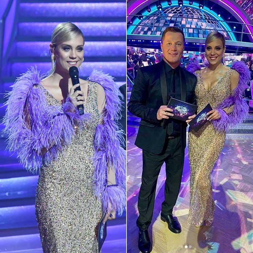 Lékai-Kiss Ramóna a Dancing whit the Stars első adásában viselte az aranyszínű flitterektől csillogó, nude Robert Maar kreációt, ami kiemelte nőies vonalait, és amit egy lila boával dobott fel.