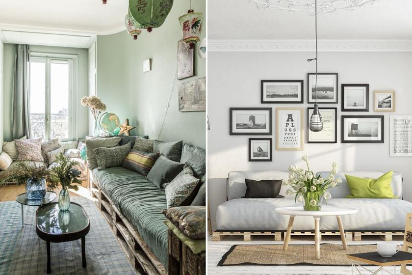 Készíts ülőgarnitúrát a nappaliba egy-két raklap lehelyezésével! Már csak a szivacs és a párnák kellenek a tökéletes kényelemhez.