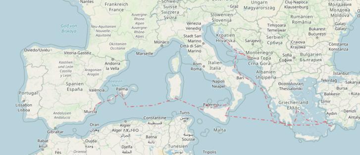 Piros szaggatott vonal jelöli eddig megtett útjukat Európában