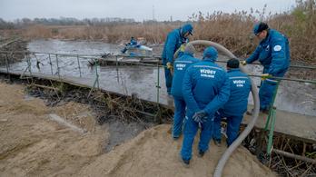 Kotrógéppel mentik a menthetőt a dunai olajszennyezés helyszínén
