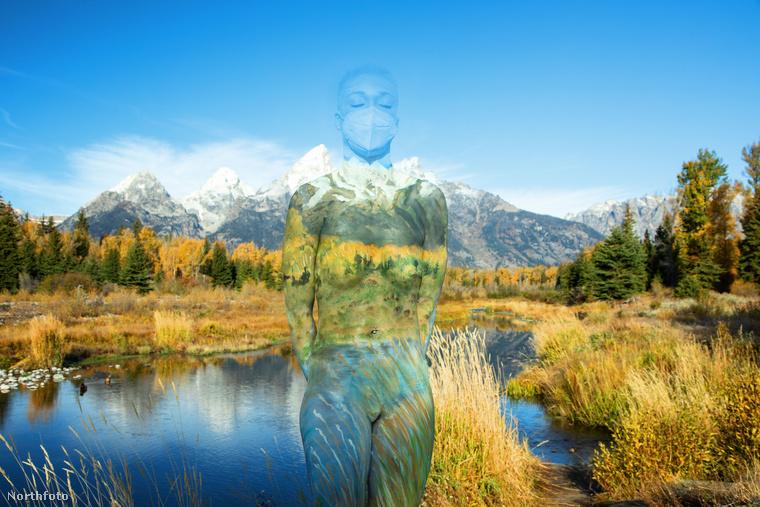 Havas hegycsúcsok, kristálytiszta égbolt, fenyves, tó, mindennek a közepében pedig egy félmeztelen modell