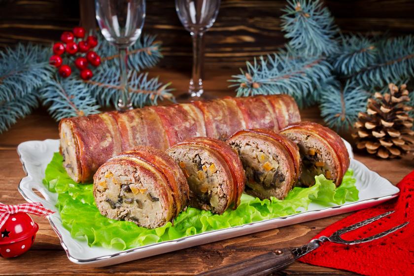 Egyben sült zöldséges fasírt, baconbe tekerve: a hidegtálra is kitűnő