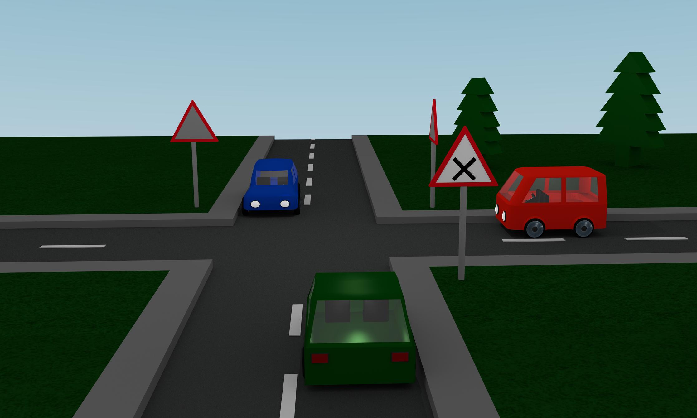 Ha minden autó egyenesen haladna tovább, melyikük indulhat el elsőként?