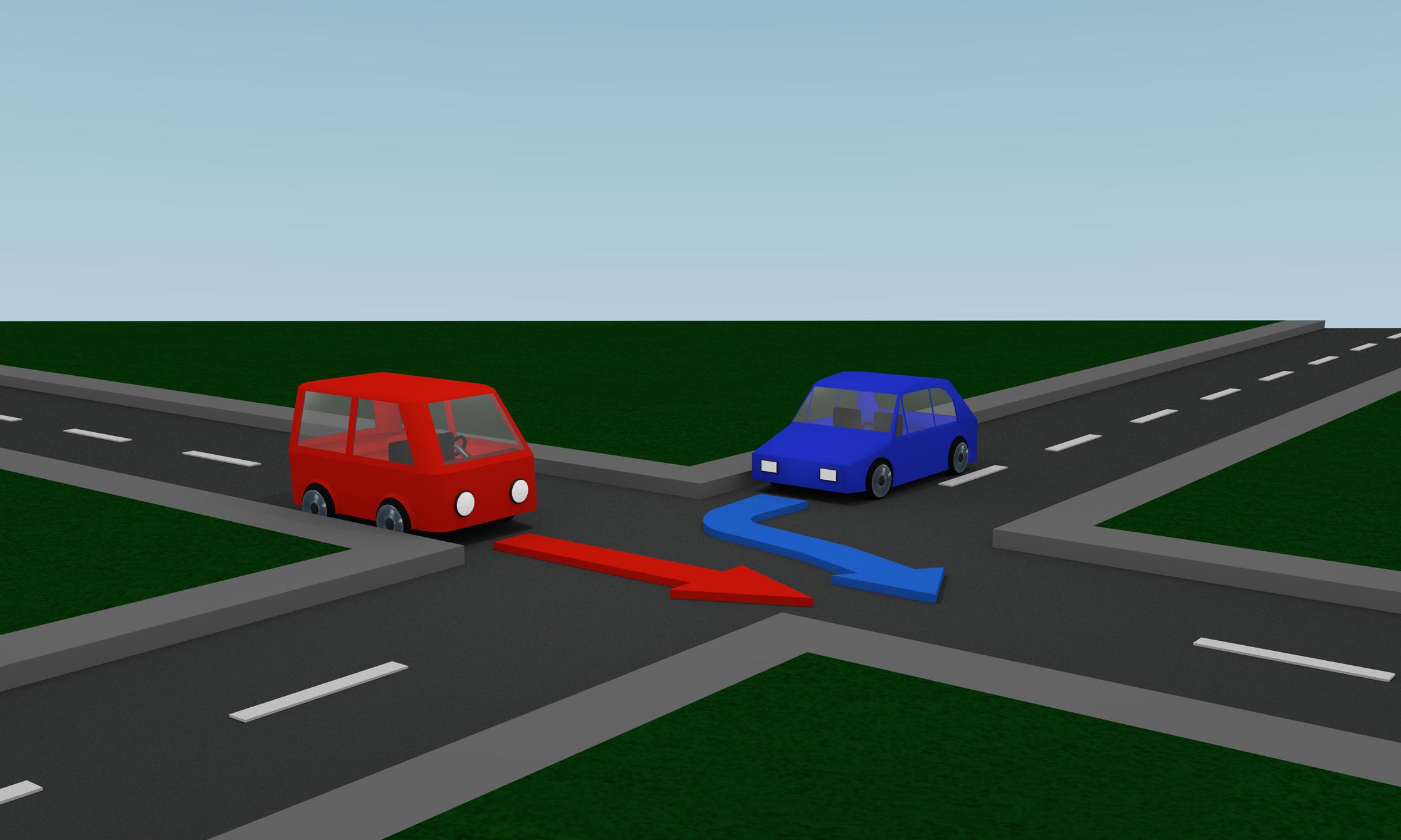 Mi a helyes közlekedési sorrend, ha a K a kék, a P a piros autót jelzi?